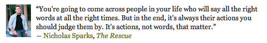 Nicholas Sparks, Rescue, quotes, actions