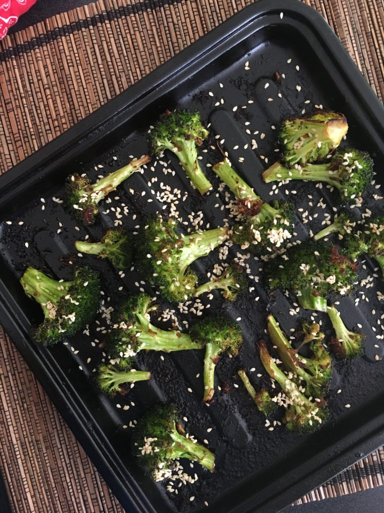 roasted broccoli with soy and ginger for keto snack