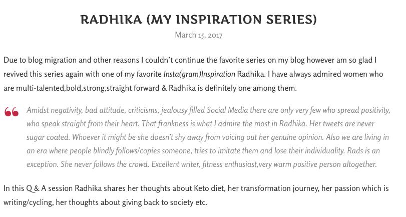 inspiration series, rekha reshkitchen, keto, blogger