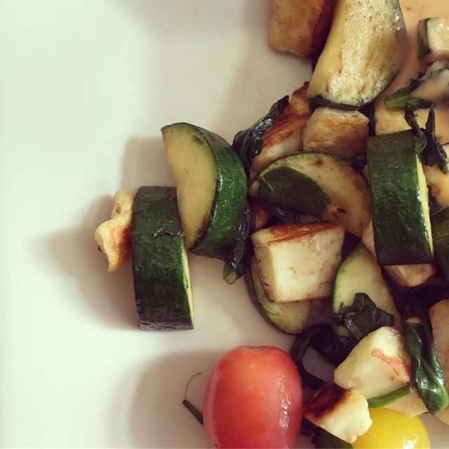 Pan fried halloumi with zucchini and cherry tomatoes and spinachhellip