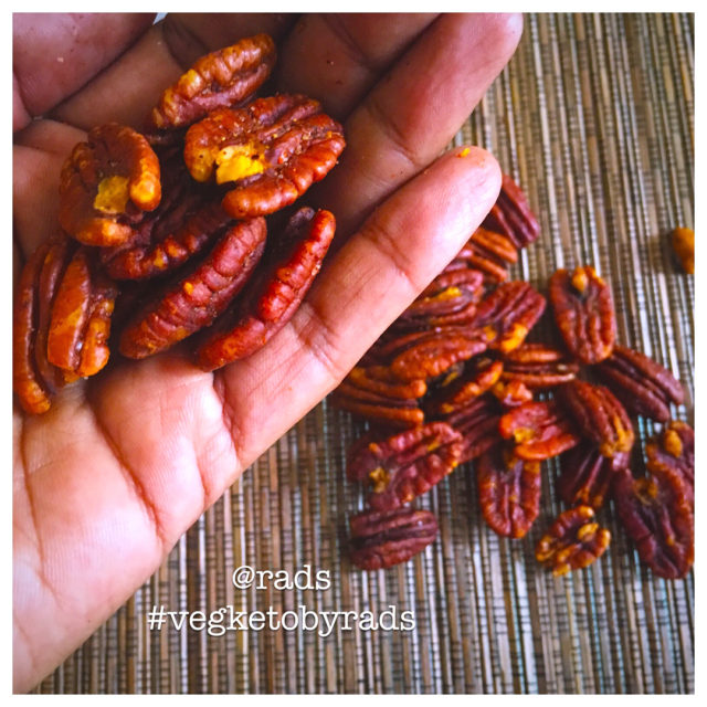 Spiced Pecans Indian style Yes they are spicy and fathellip