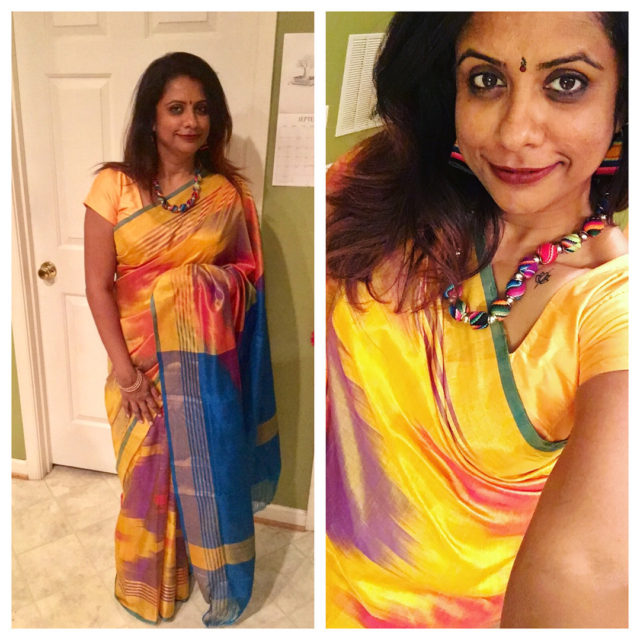 Day 2 Yellow  Uppda sari in a gorgeous watercolorhellip